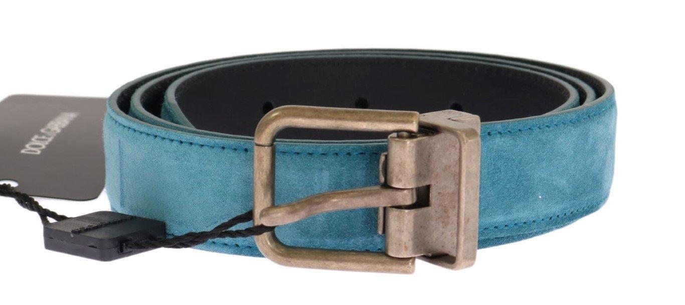 Dolce & Gabbana Men's Leather Buckle Belt Blue BEL11023 - 85 cm / 34 Inches