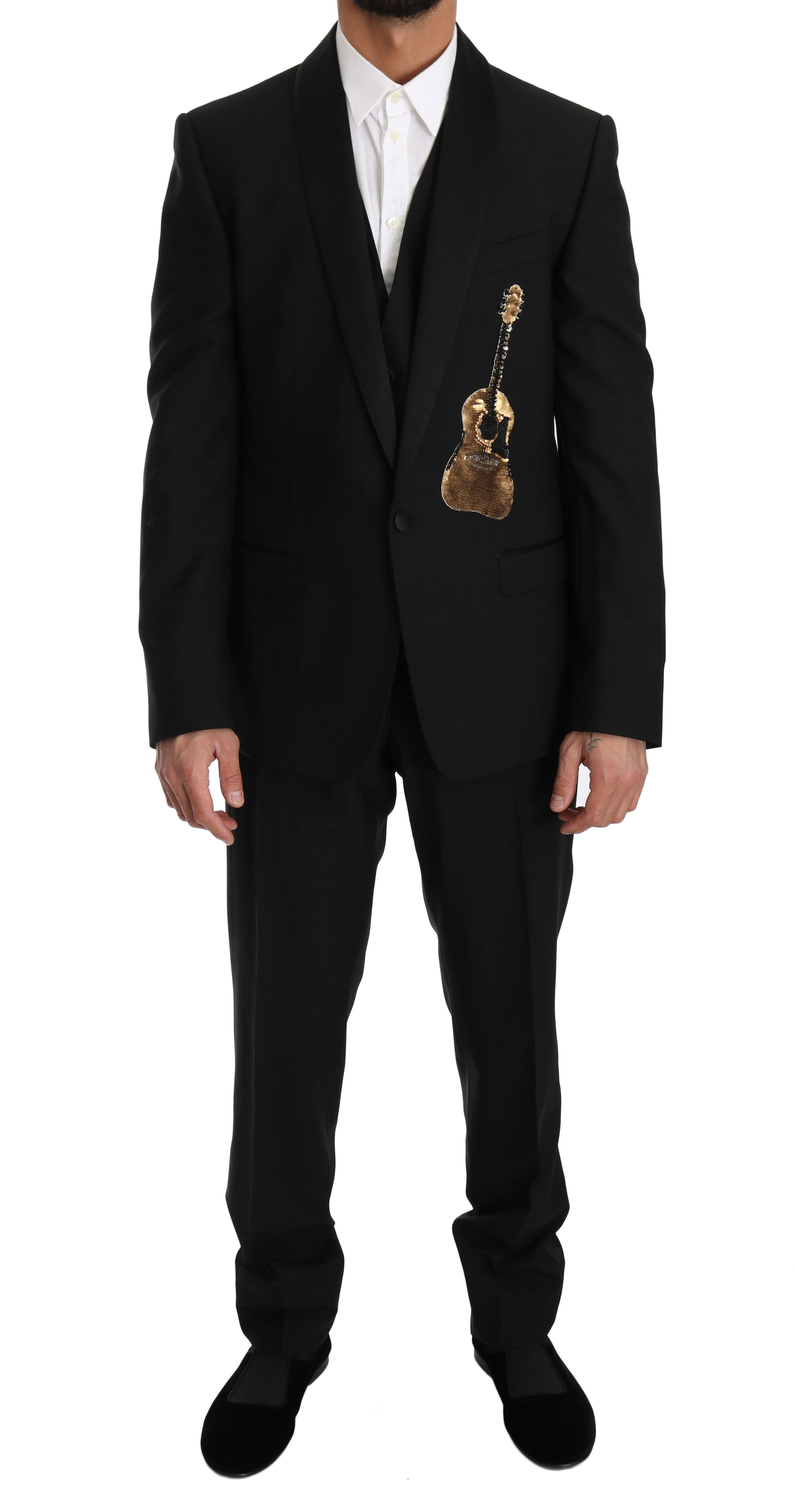 Dolce & Gabbana Men's Wool 3 Piece Sequin Guitar Suit Beige KOS1173 - IT52   XL