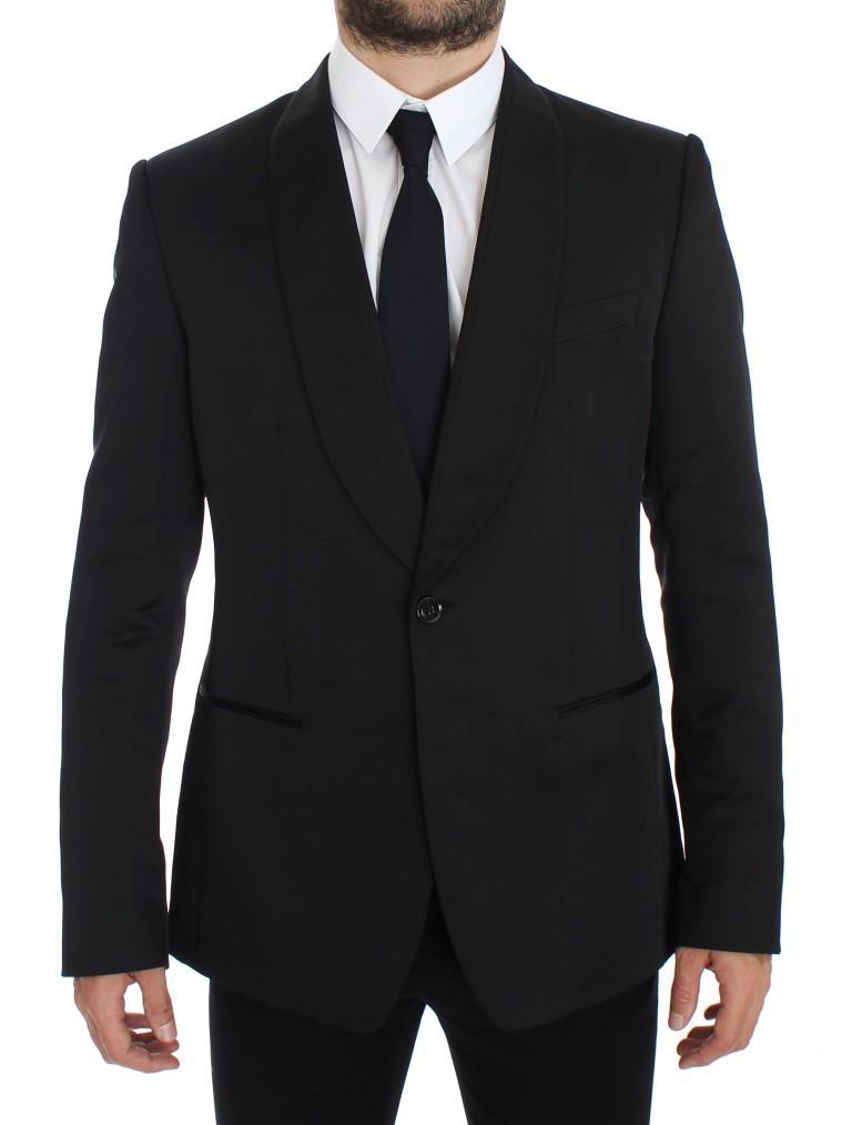 Dolce & Gabbana Men's Silk Slim Fit Blazer Black GTT10079 - IT52 | XL