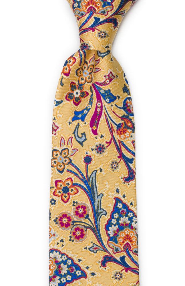 Silke Slips, Surrealistiske, flerfargete blomster på gult, Notch VIVACE Yellow