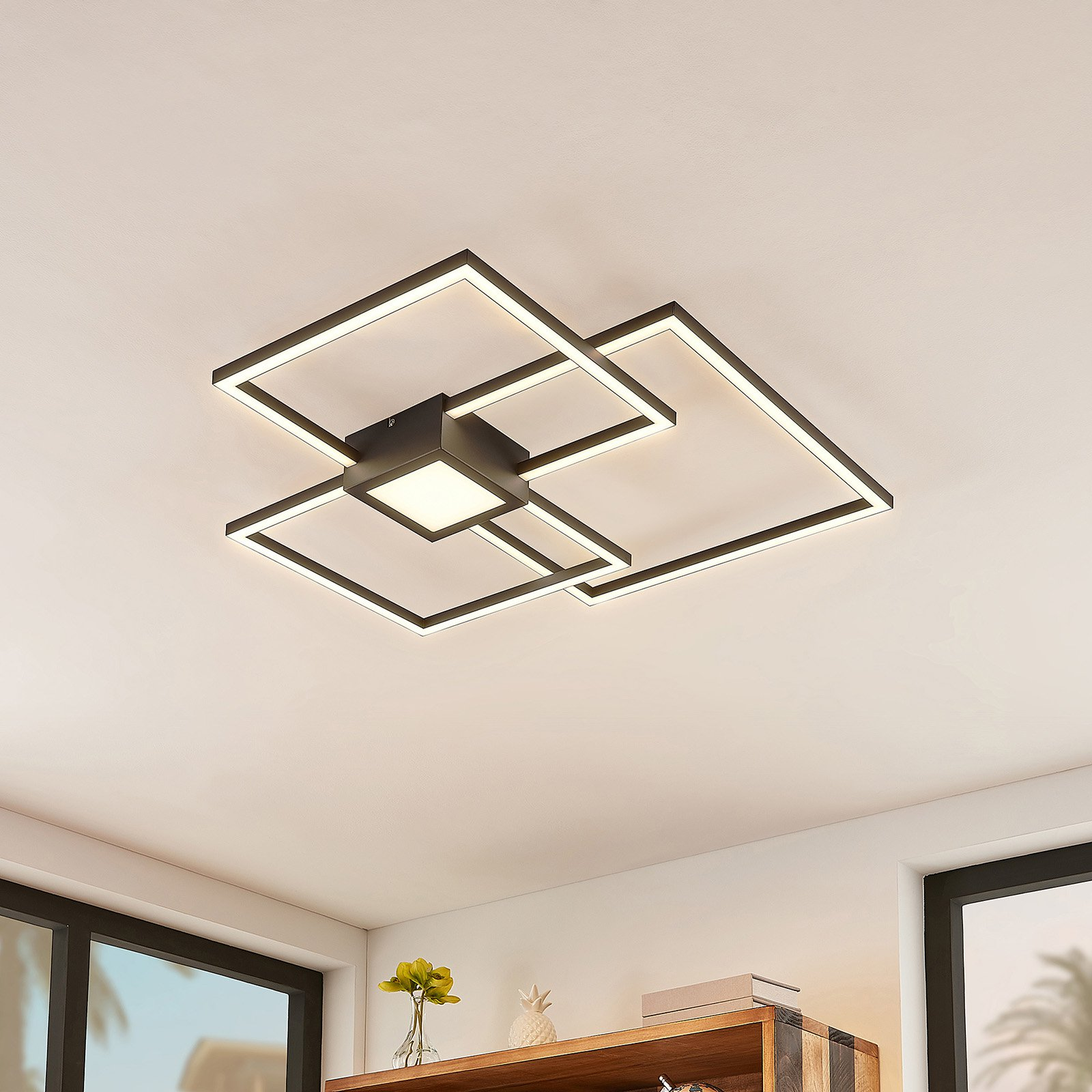 Lindby Duetto LED-taklampe antrasitt 38W