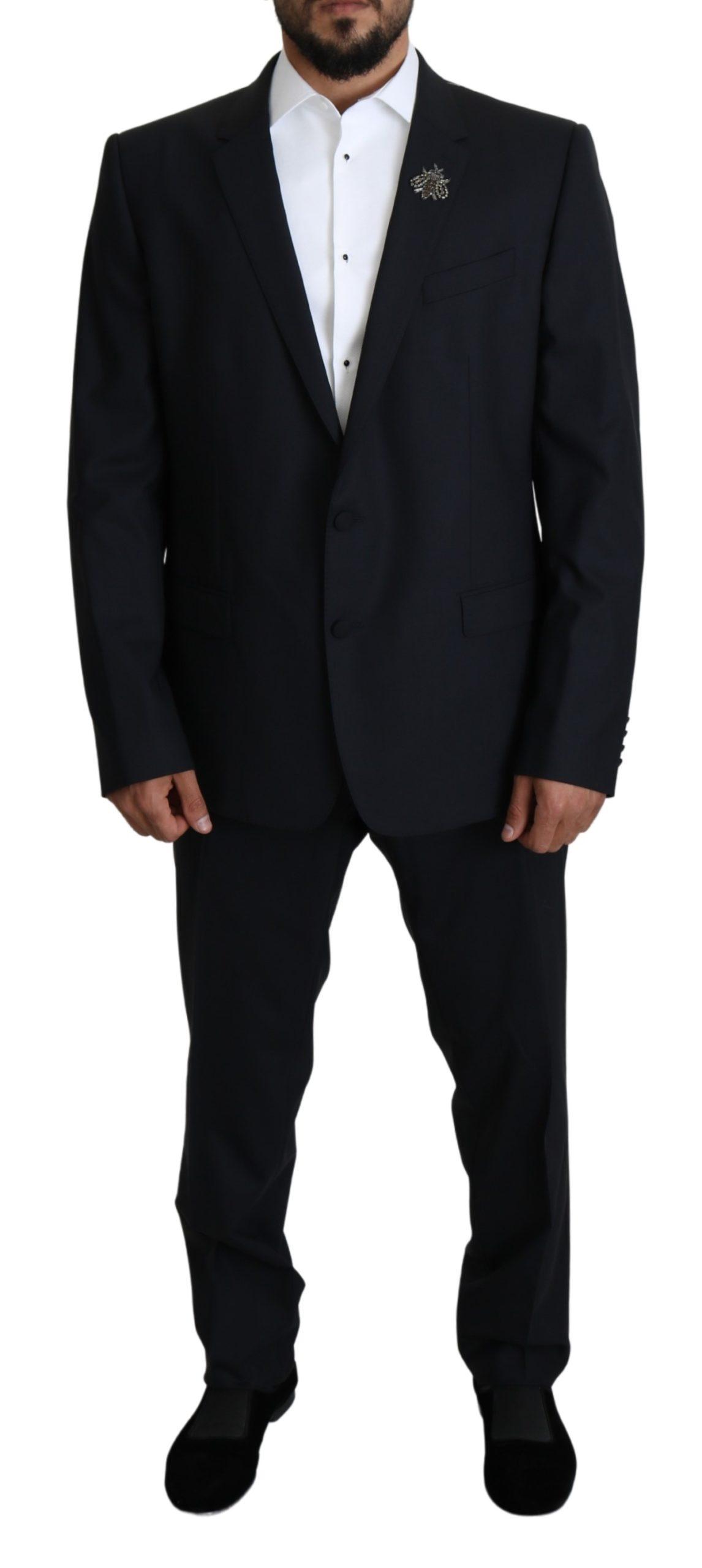 Dolce & Gabbana Men's Wool Stretch Crystal MARTINI Suit Blue KOS1815 - IT58 | XXL