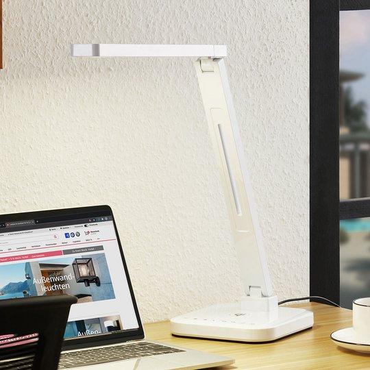 Arcchio Libia -LED-pöytävalo, Qi-lataus, valkoinen