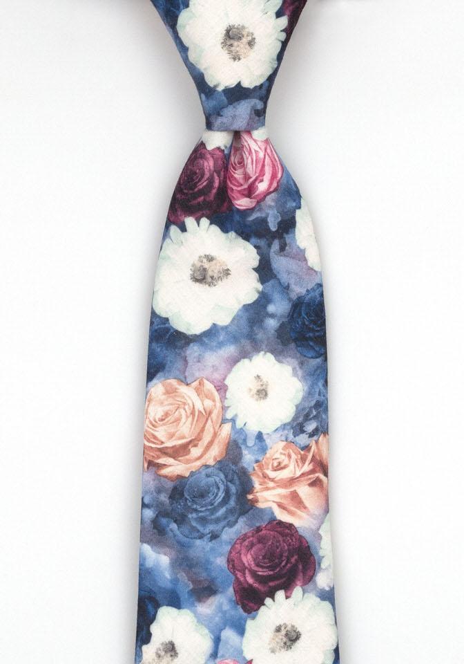 Bomull Slips, Flerfargede roser og blomster på blått, Blå, Flerfargede roser