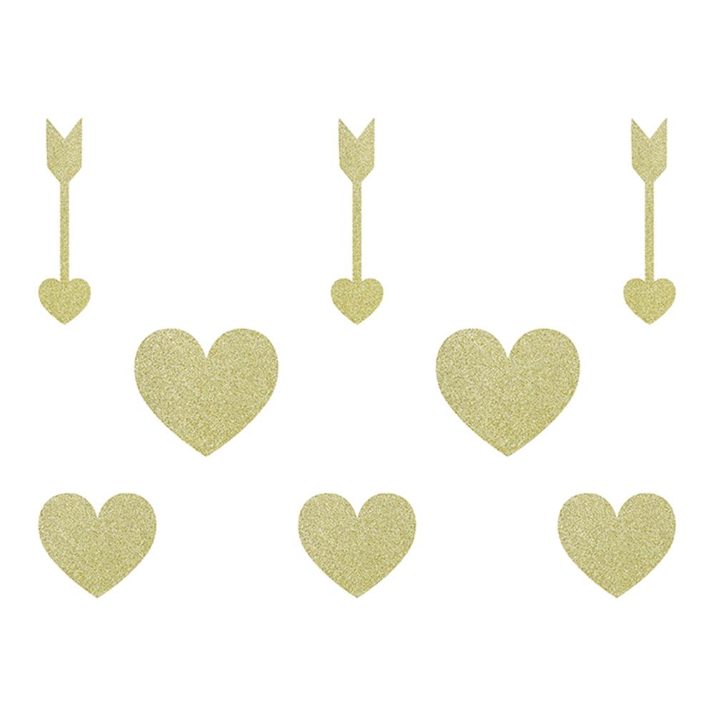 Pappersdekorationer Sweet Love Guld/Glitter - 8-pack