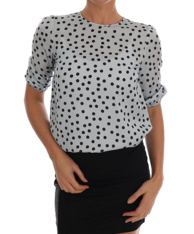 Dolce & Gabbana Women's Short Sleeve Polka Tops Blue TSH1633 - IT50   XXL