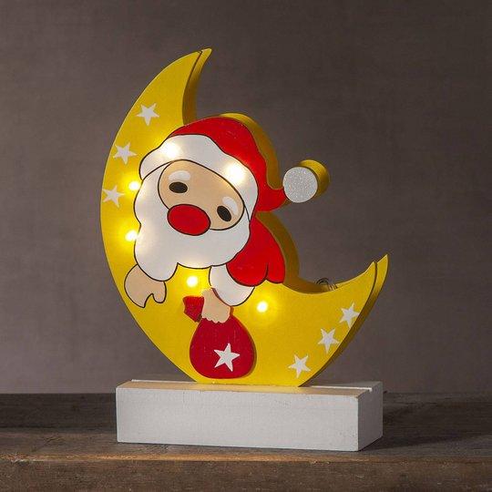LED-dekorasjonsbelysning Freddy julenisse i månen