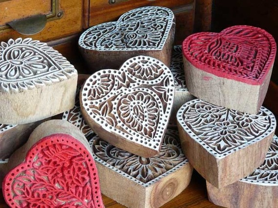 Love Heart Wooden Block na Medium
