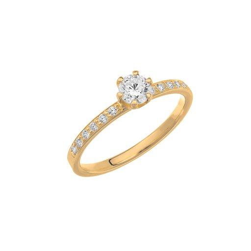 Diamantring i 18K guld, 53