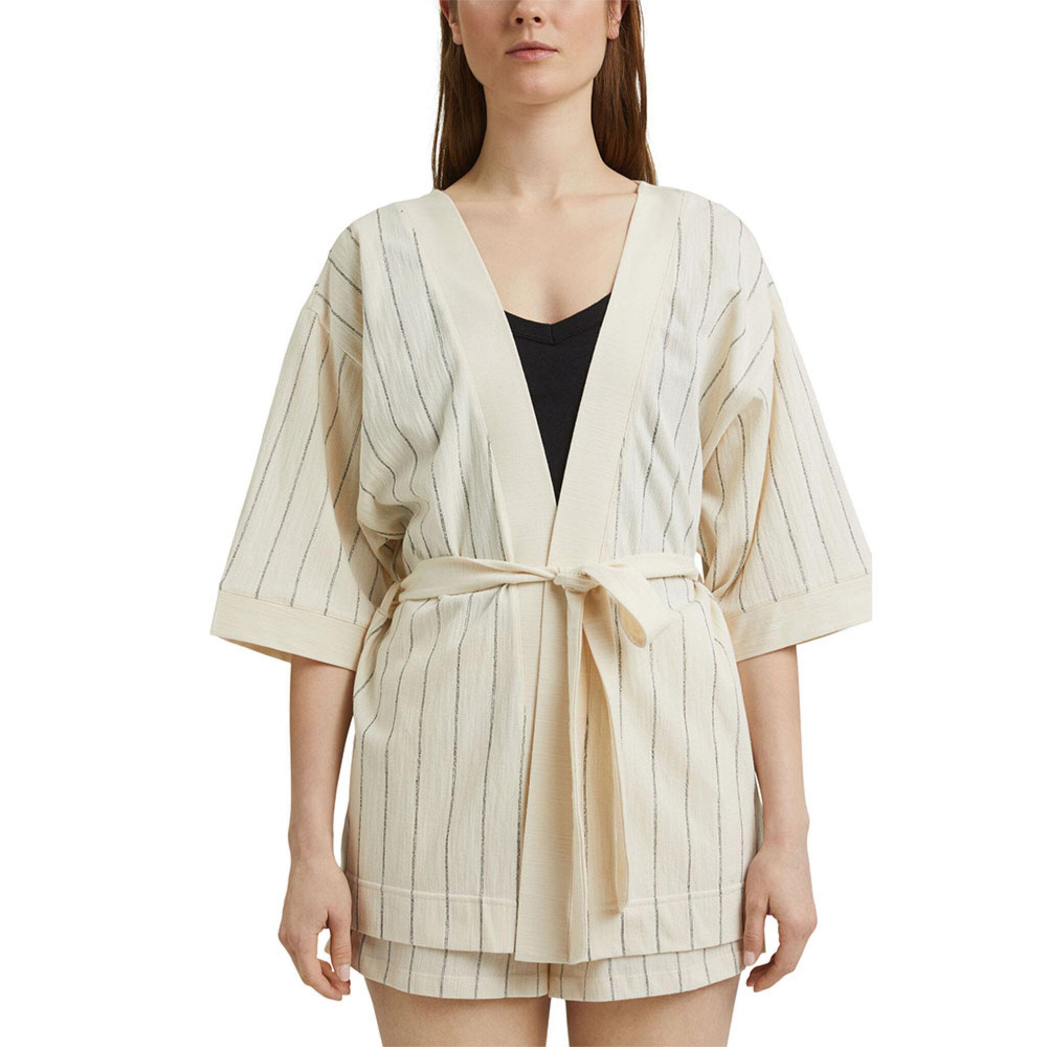 Vävd jacka i kimonostil med skärp