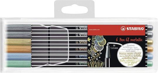 STABILO Filtpenner Premium Metallic 6-pack i Metalletui