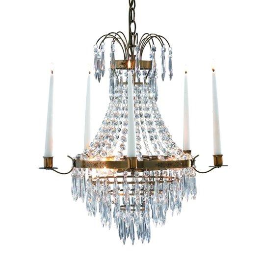 Kaunis vanhamessinki kynttiläkattokruunu Krageholm
