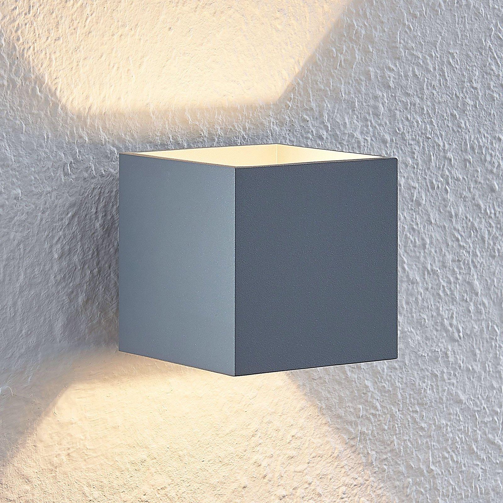 Lindby Mirza aluminium-vegglampe, kantet, grå