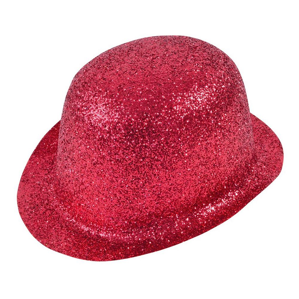 Glittrande Bowlerhatt Röd - One size