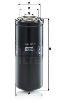 Suodatin, työhydrauliikka MANN-FILTER WH 980/7