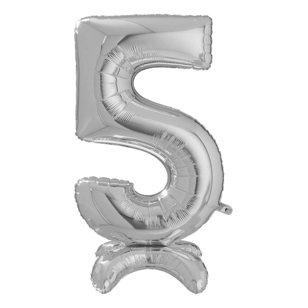 Sifferballong med Ställning Silver - Siffra 5