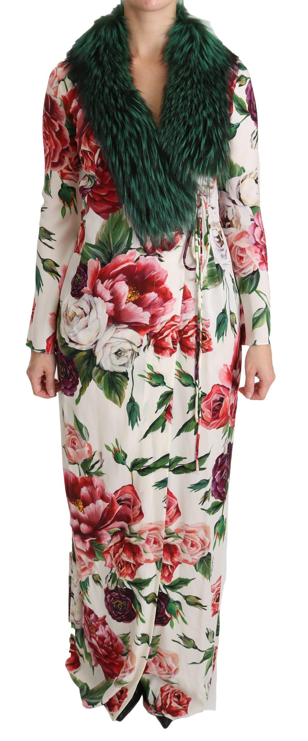 Dolce & Gabbana Women's Floral Shift Fur Silk Dress White DR2141 - IT36   XS