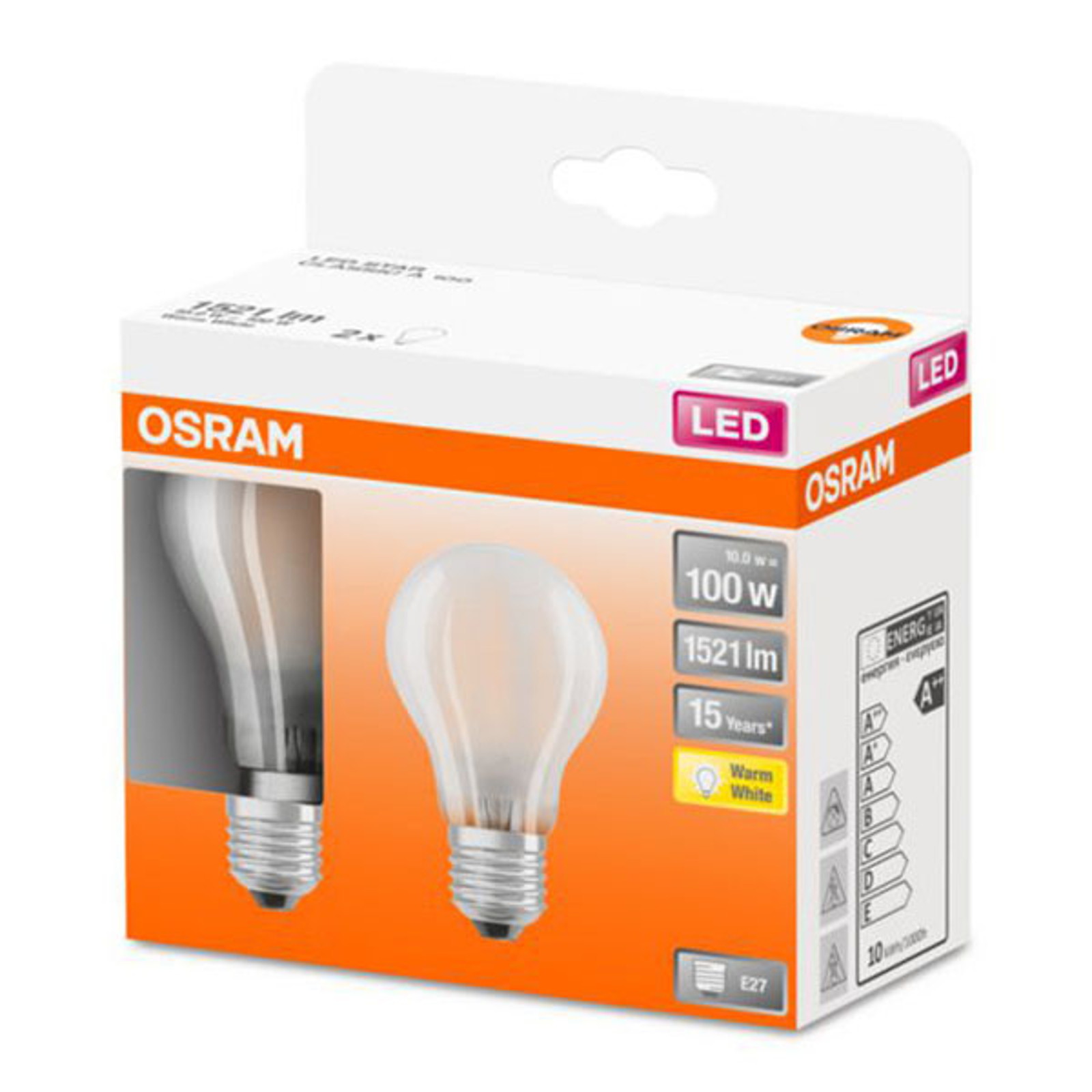 OSRAM Classic A -LED-lamppu E27 10W 2 700 K 2 kpl