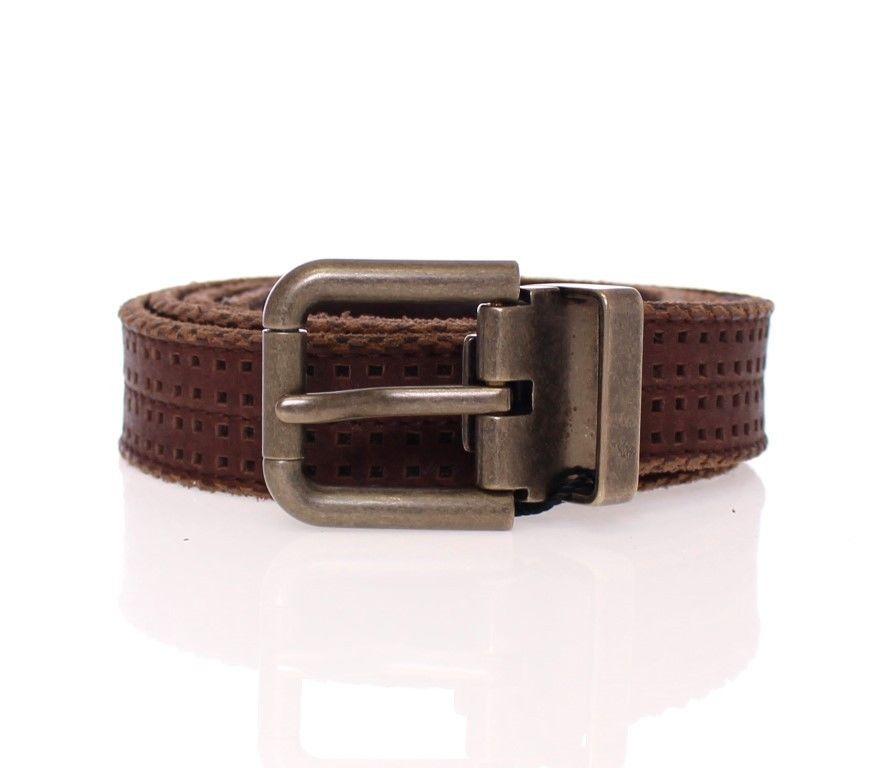 Dolce & Gabbana Men's Leather Logo Belt Brown GSS20198 - 95 cm / 38 Inches
