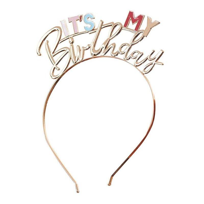 Diadem i Metall It's My Birthday Guld - One size