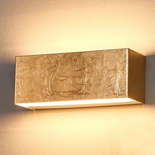 Gullfarget LED-vegglampe Quentin, 23 cm