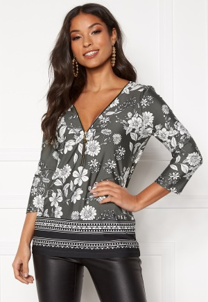 Happy Holly Marion top Khaki green / Patterned 32/34