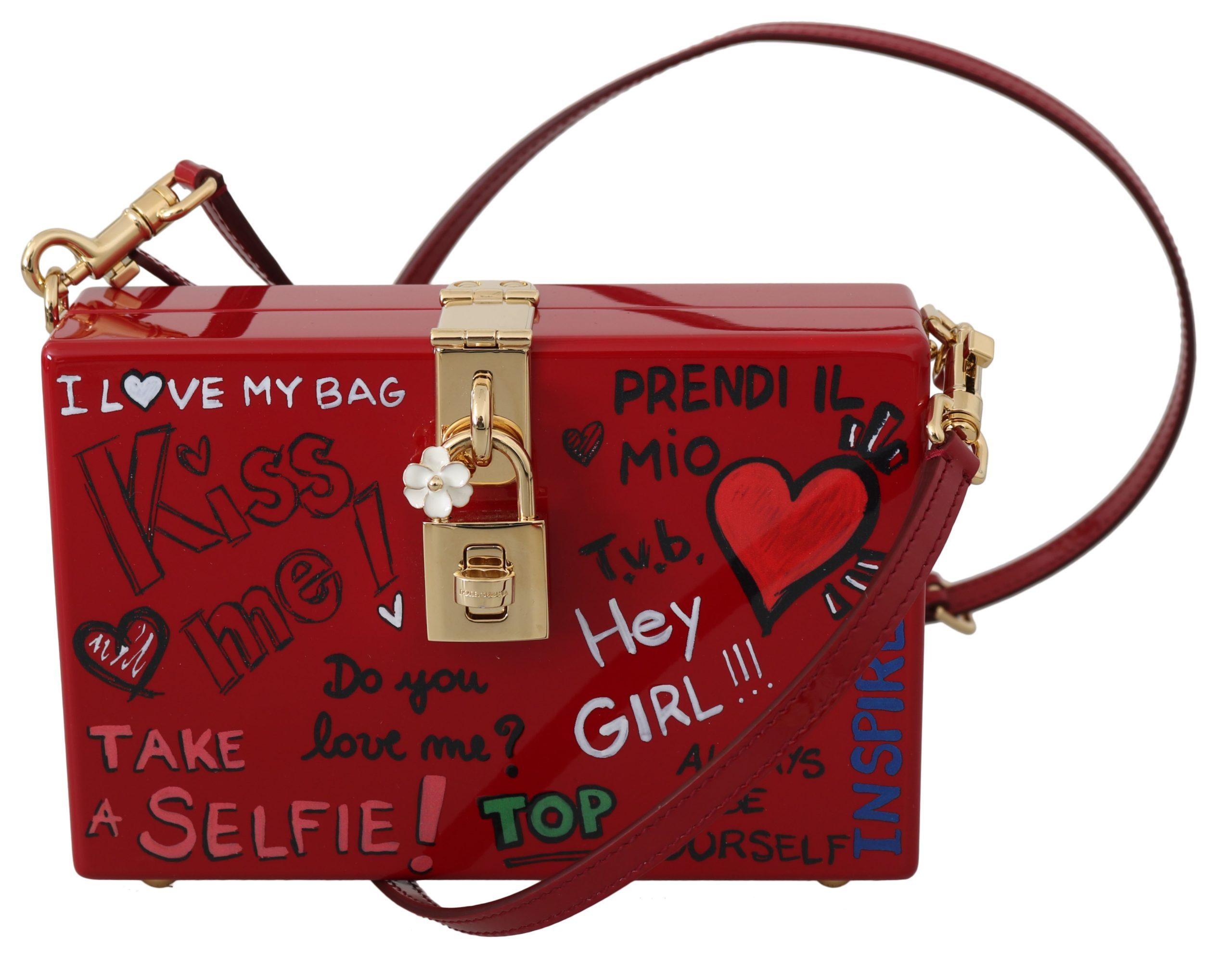 Dolce & Gabbana Women's Hand Painted Wooden Leather Shoulder Bag Red VAS8724