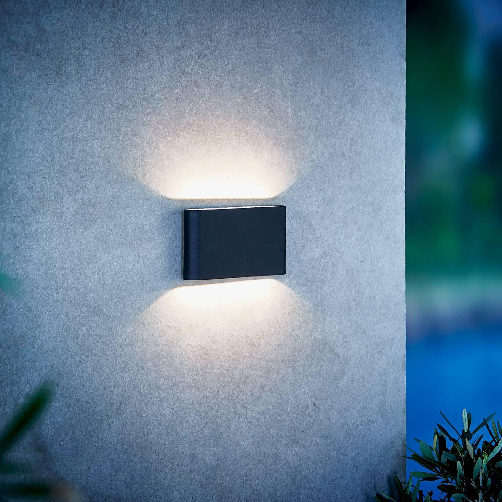 LED-ulkoseinälamppu Kinver, ohut muotoilu, musta