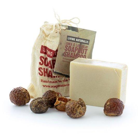 Living Naturally Shea Lava Clay Soapnut Shampoo Bar, 90 g
