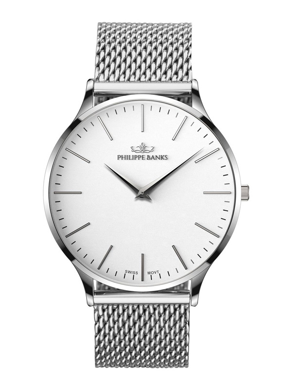 Philippe Banks Slimline 40 Silver Mesh 401-01-M01