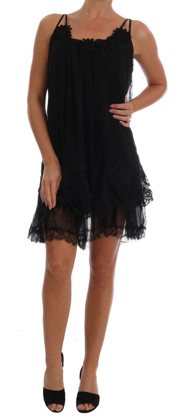 Dolce & Gabbana Women's Silk Lace Chemise Dress Black BIK082 - IT1   XS