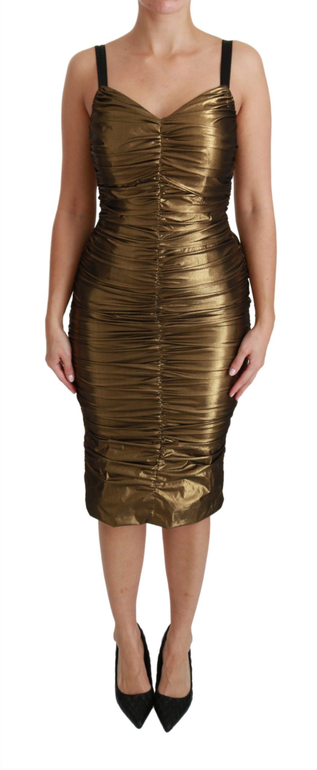 Dolce & Gabbana Women's Metallic Stretch Ruched Dress Gold DR2489 - IT36 | XS