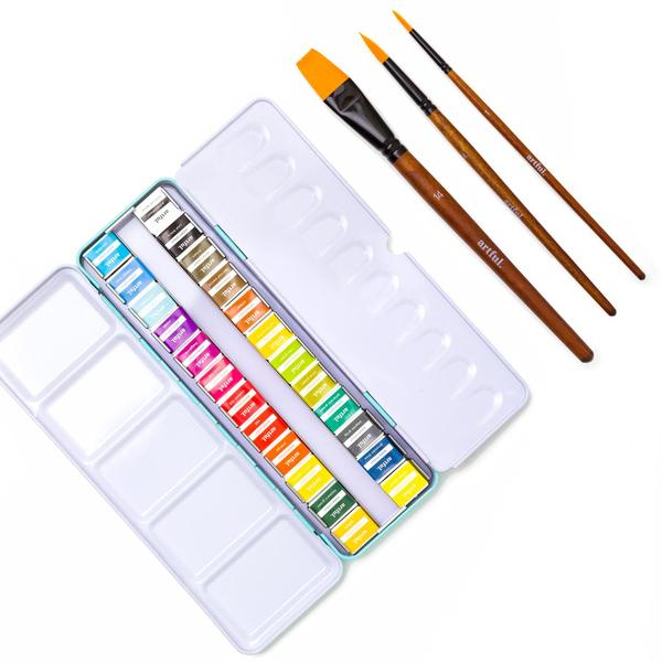 24 Watercolour Pan Set & 3 Paint Brushes Bundle