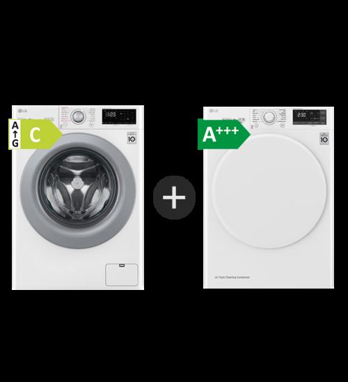 Lg F4wp308s1w + Rc80u2av0w Kombinerad Tvätt/torkmaskin - Vit
