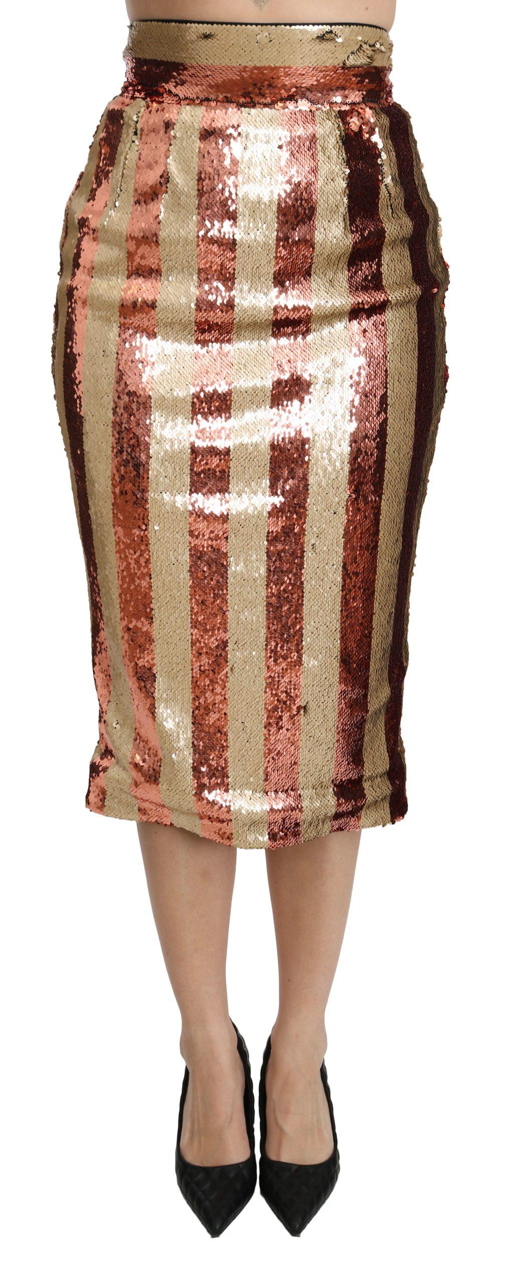 Dolce & Gabbana Women's Striped High Waist Midi Skirt Gold SKI1371 - IT40|S