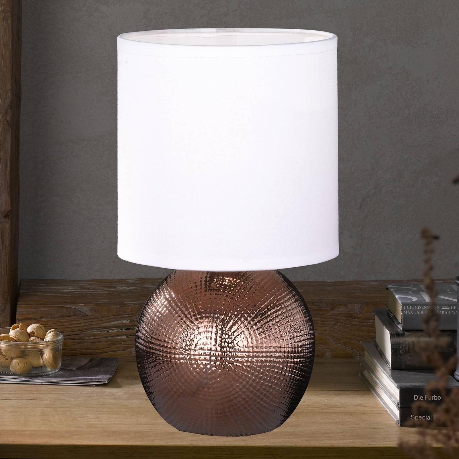 Liten bordlampe Foro med kobberfarget fot
