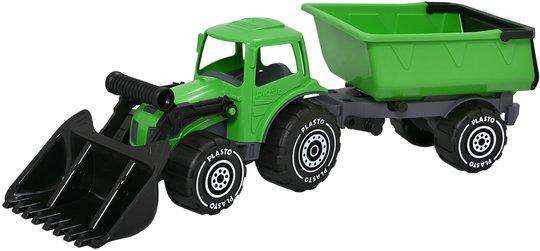 Plasto Traktor Med Fronlastare Og Tilhenger, Grønn/Svart