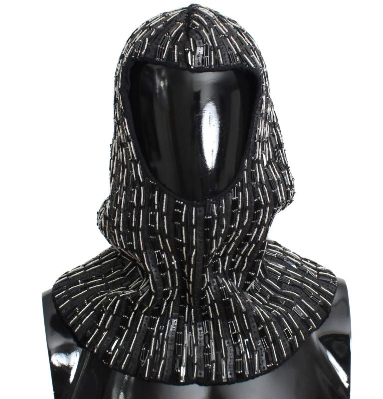Dolce & Gabbana Men's Wool Crystal Runway Hood Scarf Hat Black SIG11153