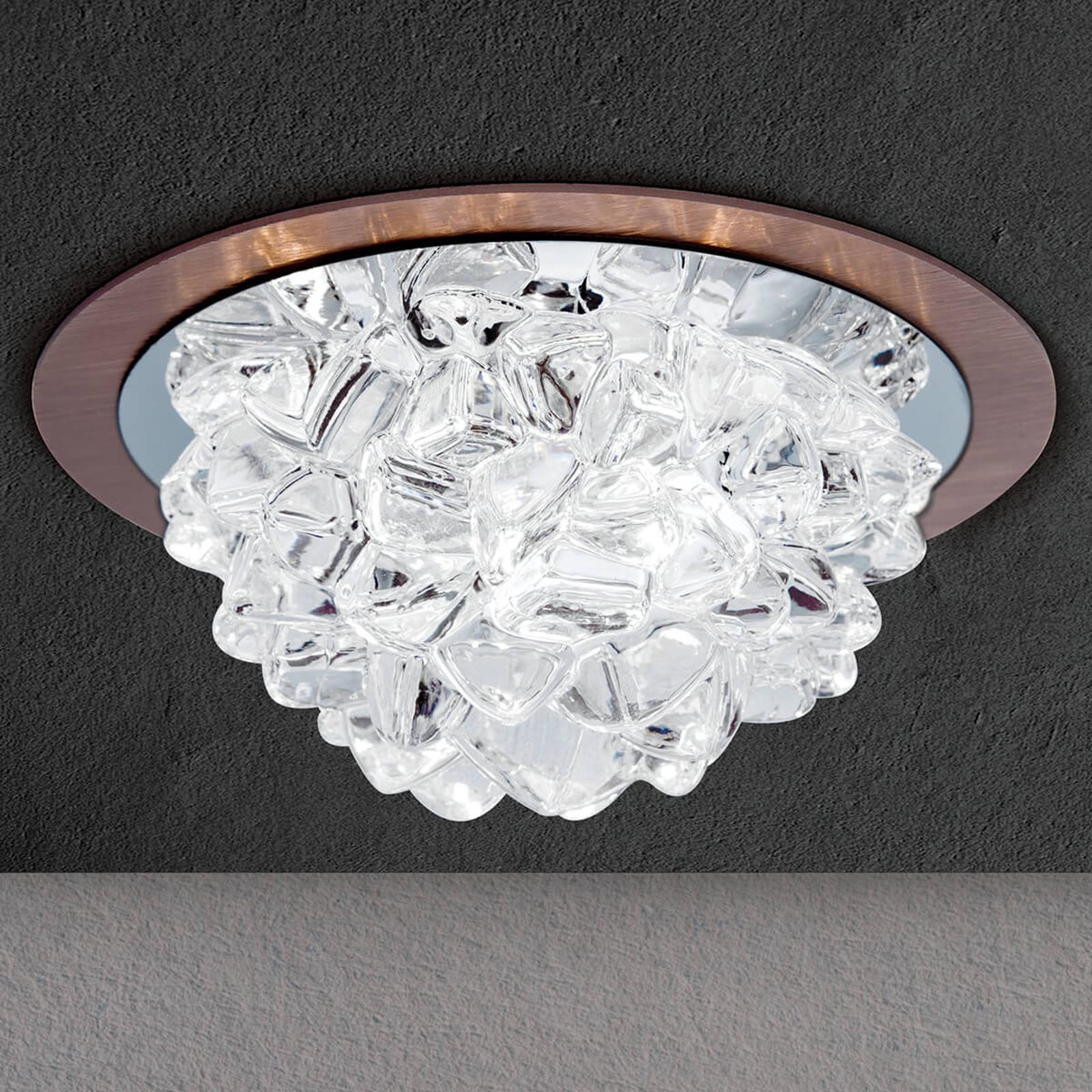 LED-uppovalaisin Cecil, kristallilasilla, pronssi