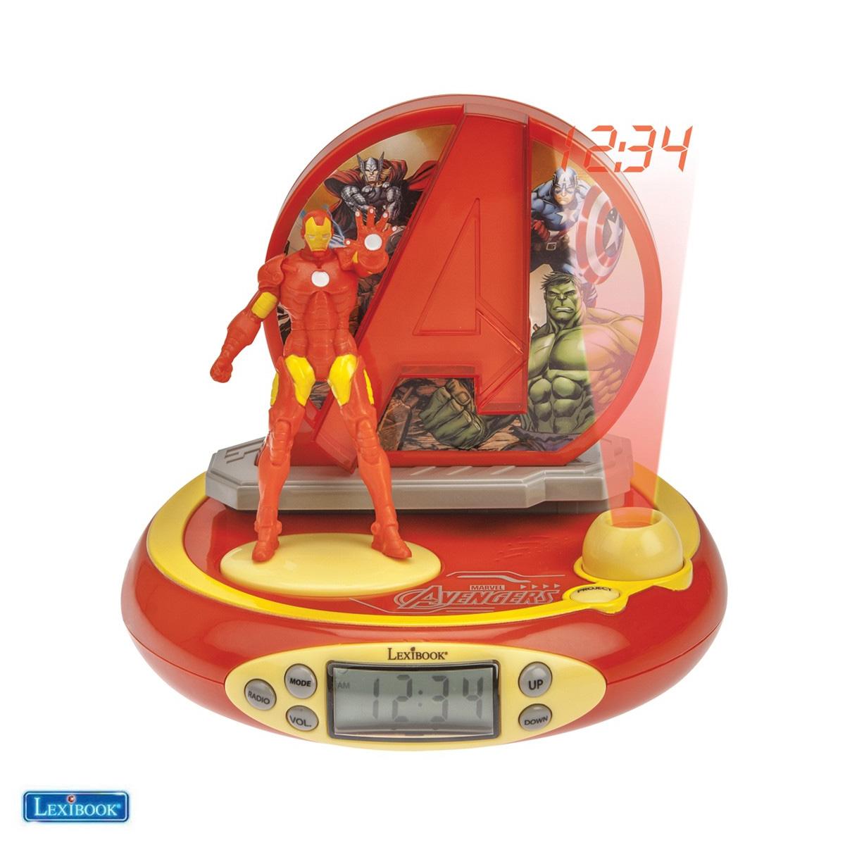 Lexibook - Avengers 3D Iron Man Projector Clock with Super Hero Sounds (RP510AV)