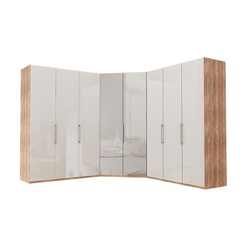 Garderobe Atlanta - Lys rustikk eik 150 + walk-in + 150, 216 cm