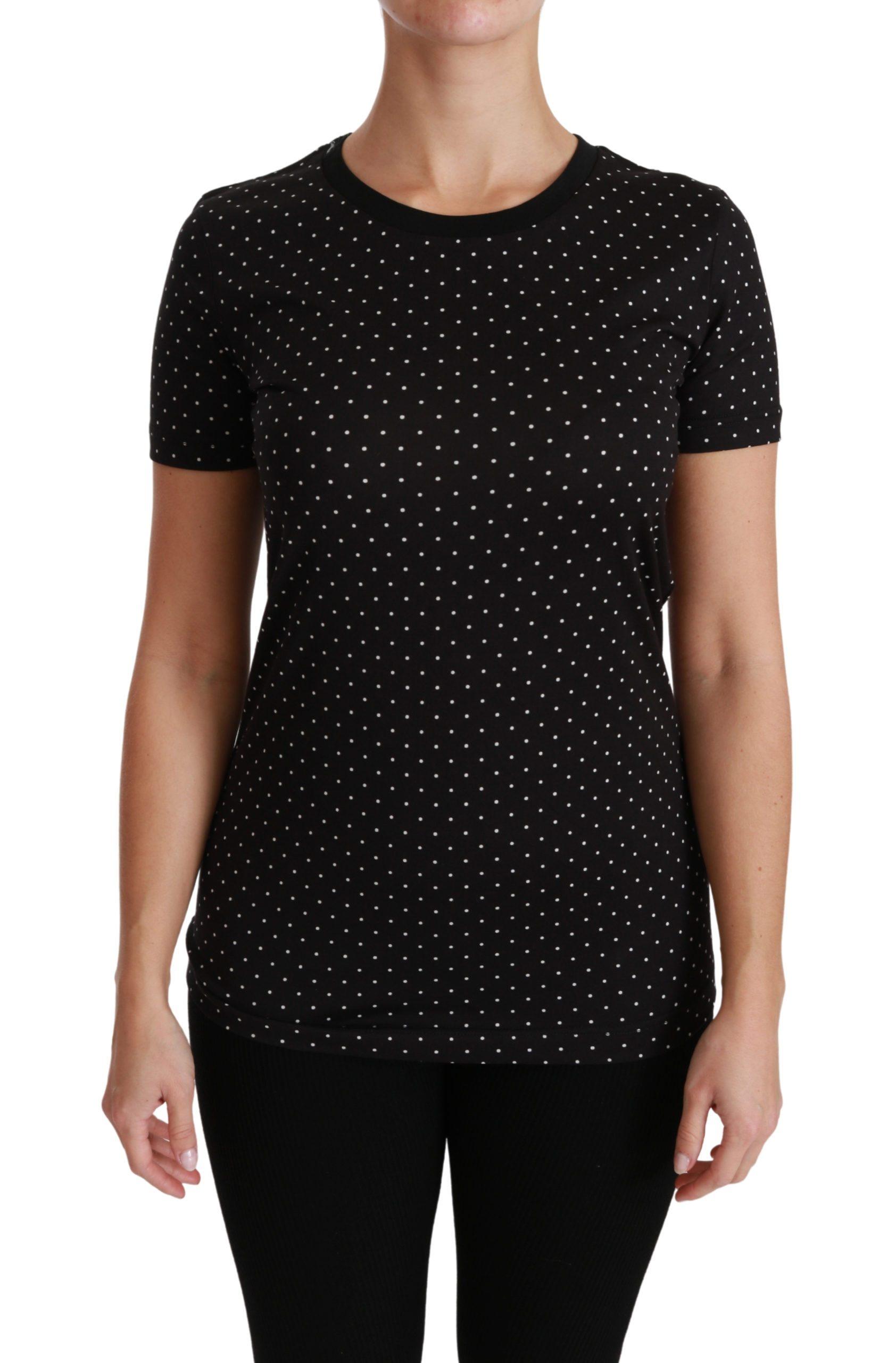 Dolce & Gabbana Women's Dotted Cotton Top Black TSH4434-36 - IT36 | XS