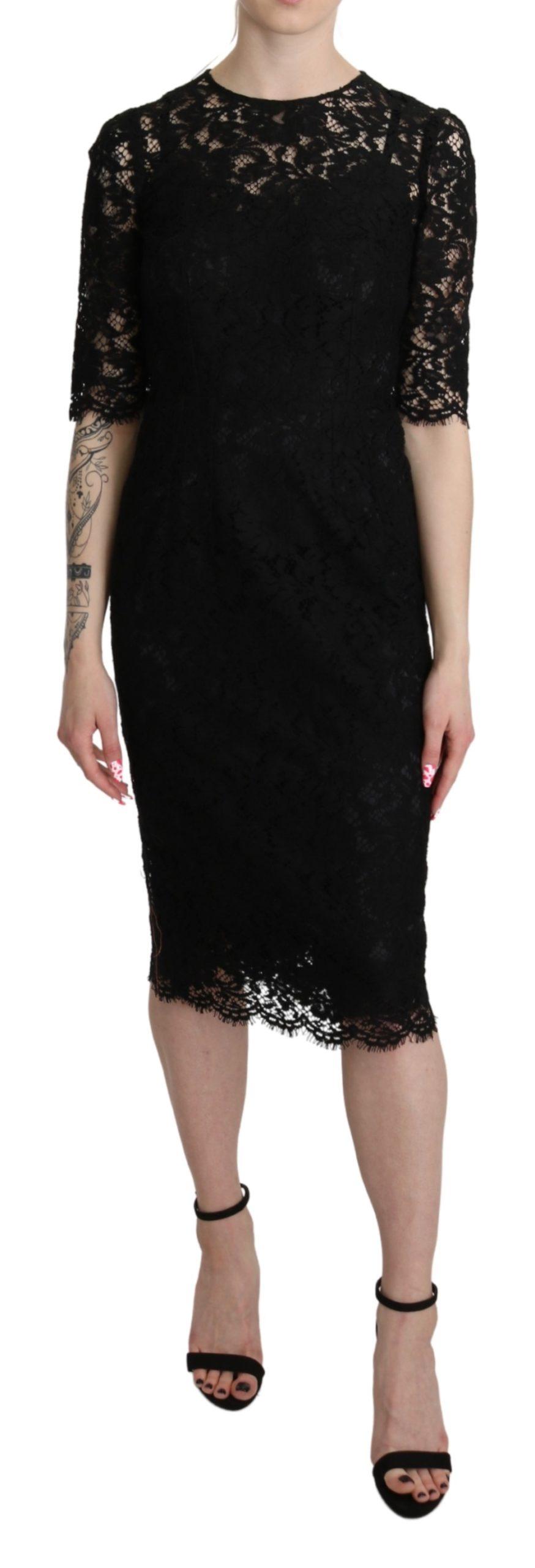 Dolce & Gabbana Women's Floral Lace Sheath Dress Black DR2616 - IT38|XS