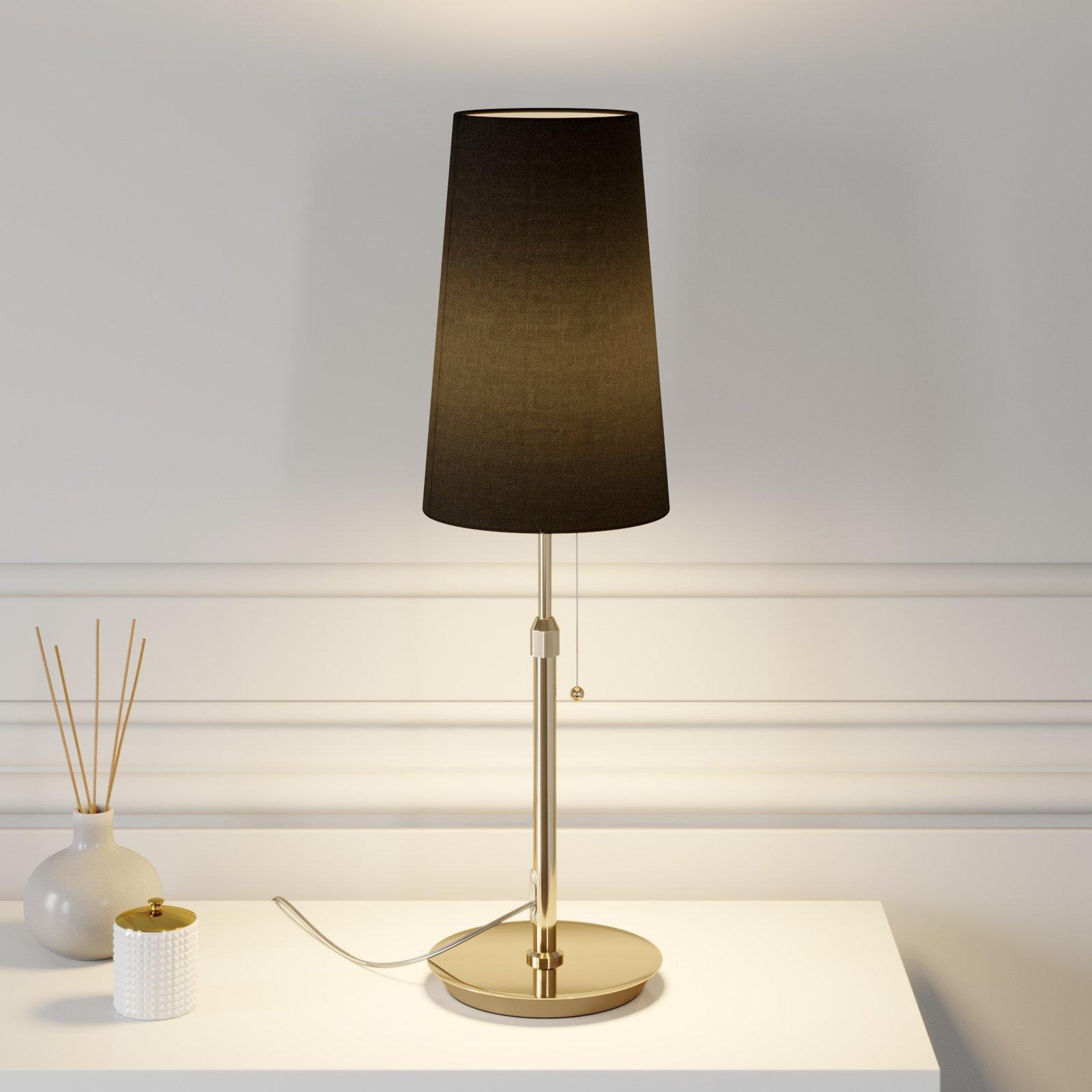 Lucande Pordis bordlampe, messing-svart