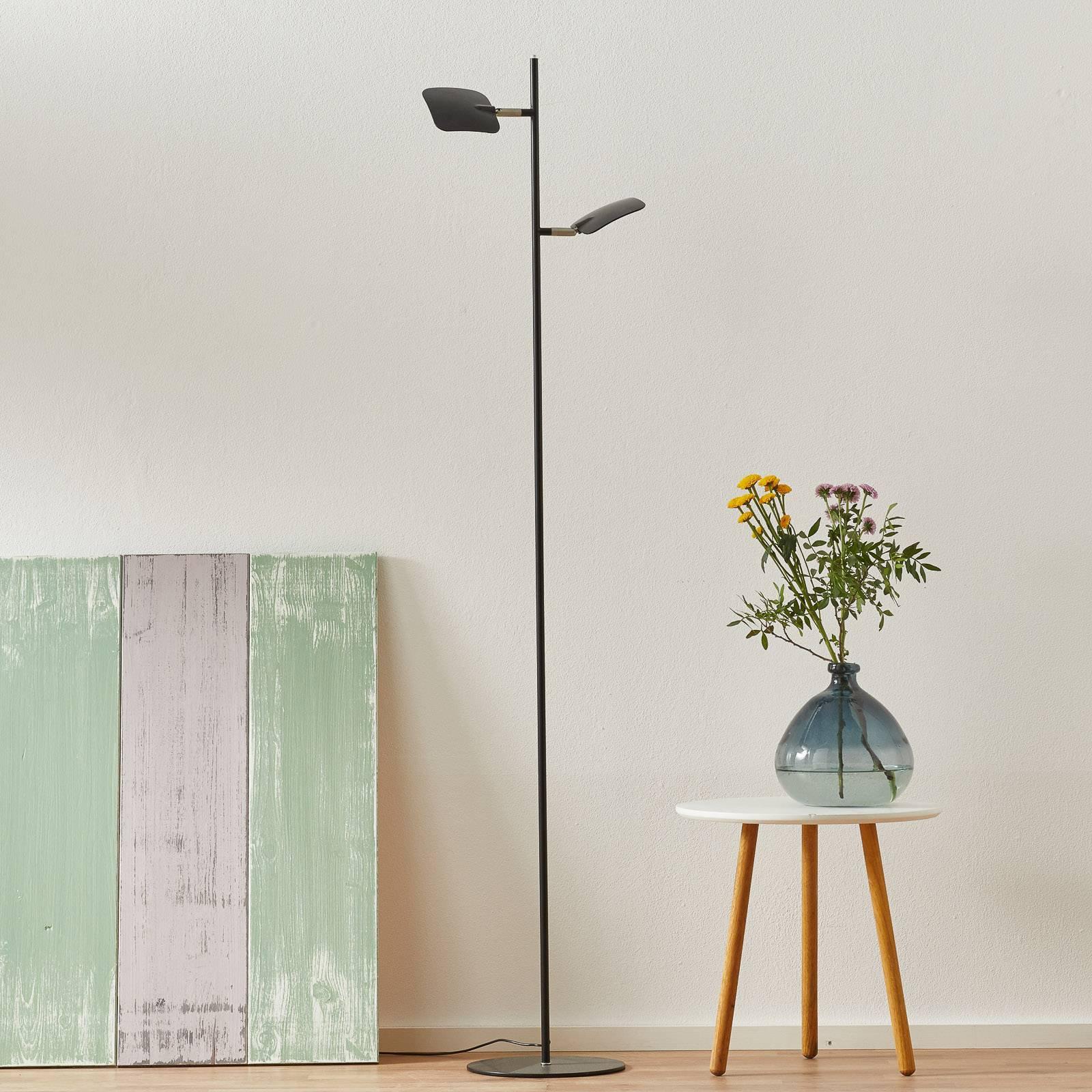 LED-gulvlampe Raggio, 2 lyskilder, svart