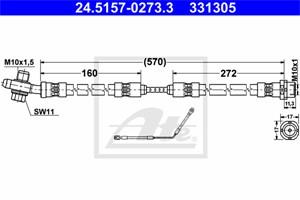 Jarruletku, Taka-akseli, oikea, BMW X5 [E53], 34 30 1 165 766