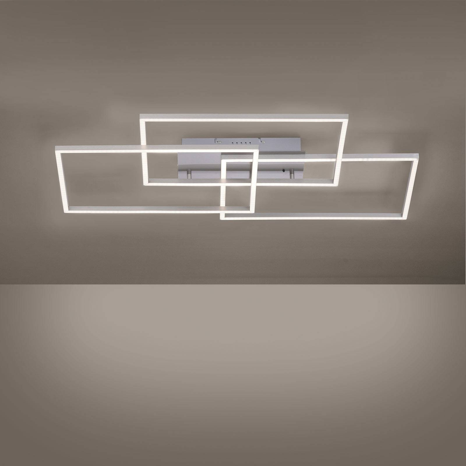 Iven LED-taklampe, stål, 3 lyskilder, rektangel