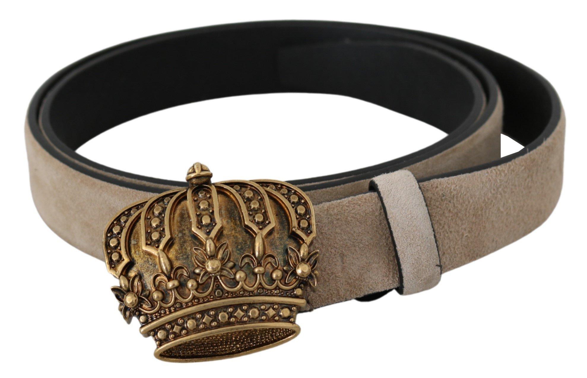Dolce & Gabbana Women's Leather Gold Crown Belt Beige \BEL60790-90 - 90 cm / 36 Inches