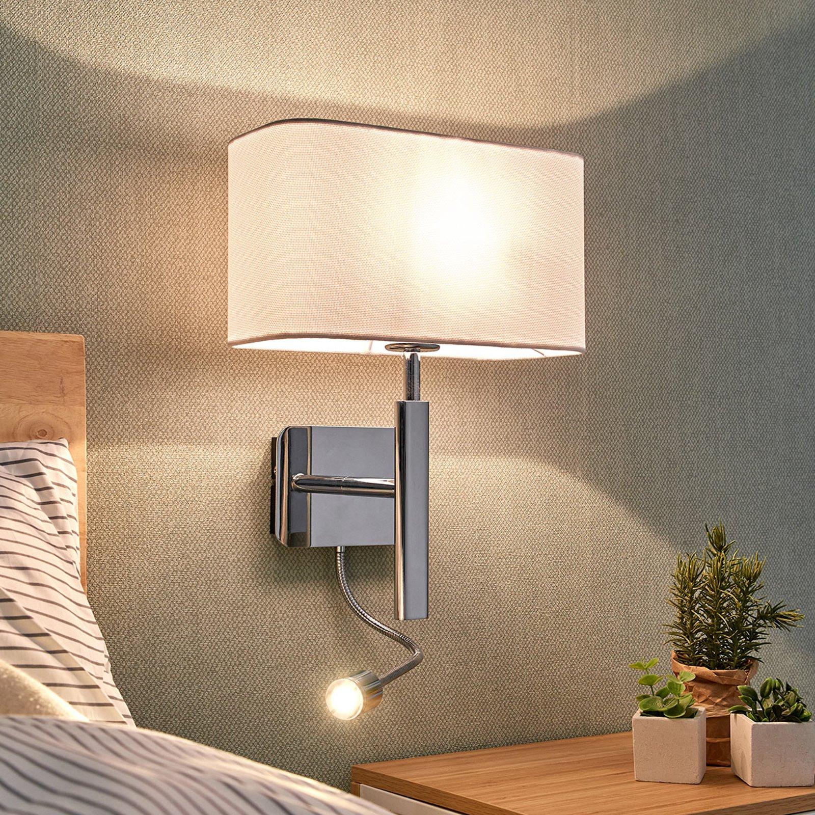 Vegglampe i tekstil Jettka med lesearm