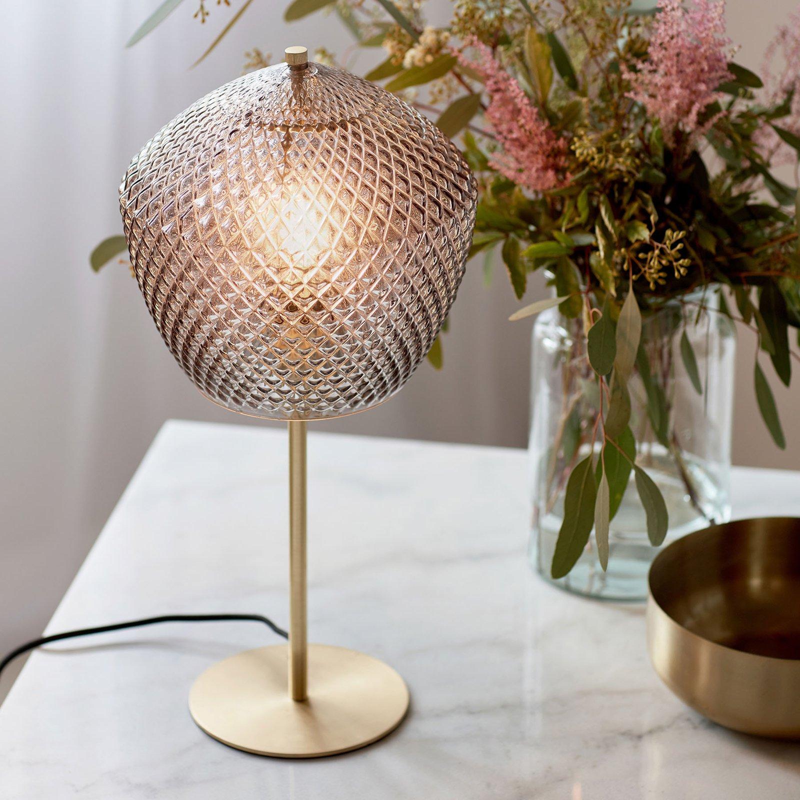 Bordlampe Orbiform, glass, røykgrå gjennomsiktig